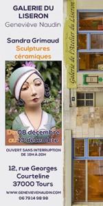 Flyer pour l'exposition Sandtra Grimaud à la galerie du Liseron à Tours